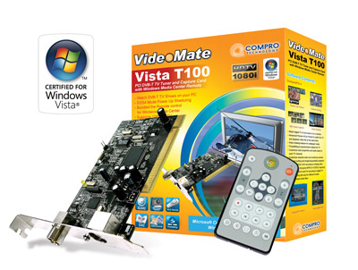 COMPRO VIDEOMATE DVB-T220V HD Digital PCI TV Tuner MCE 2005