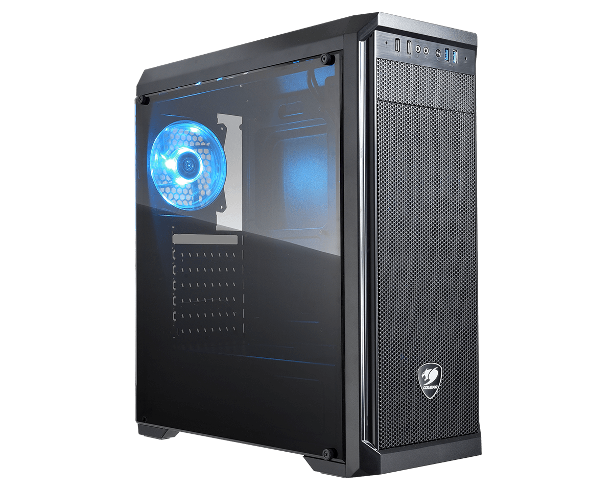 Cougar MX330-S MIDI tower with window & blue LED fan
