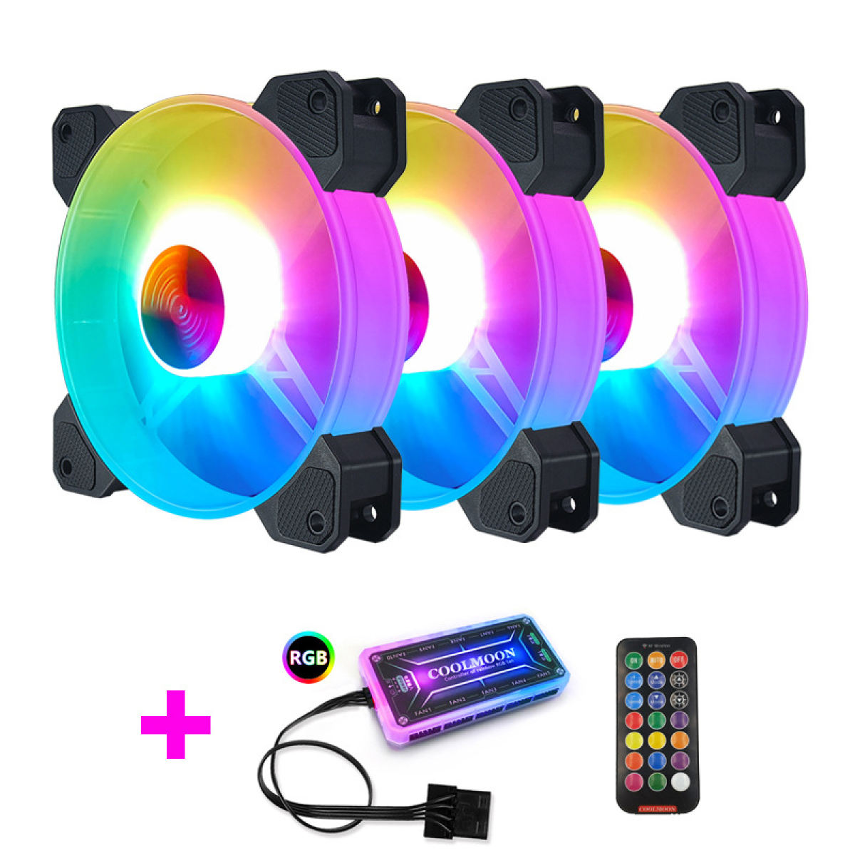 COOLMOON 3x RGB Fan with Controller & Remote (Set 1)