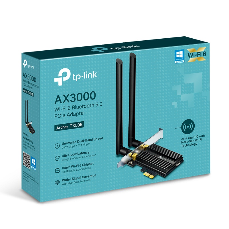 TP-LINK Archer TX50E AX3000 Wi-Fi 6 Bluetooth 5 PCIe Adapter