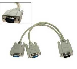 VGA Y Splitter Adapter Cable (1 PC to 2 Monitors)